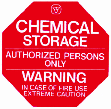 Chemical storage warning sign
