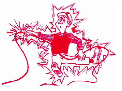 illustration of man being electrocuted