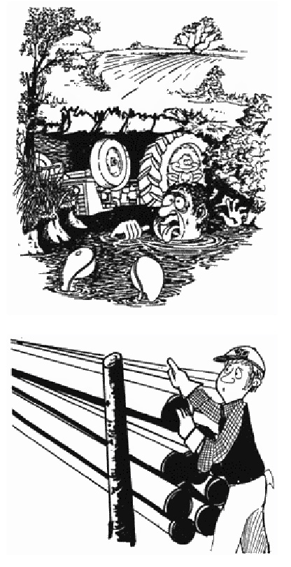 Illustration of man in pond after tractor accident & of a man inspecting pipes