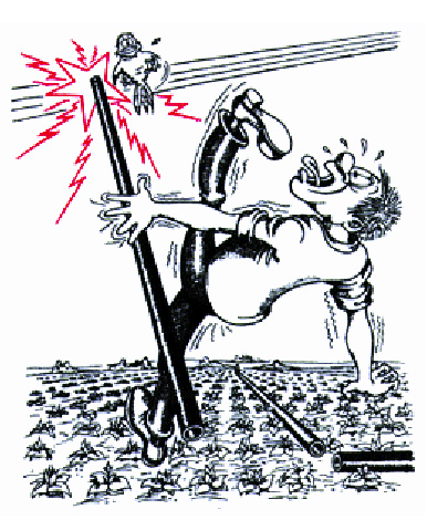 illustration of man being electrocuted by metal pipe hitting overhead wires