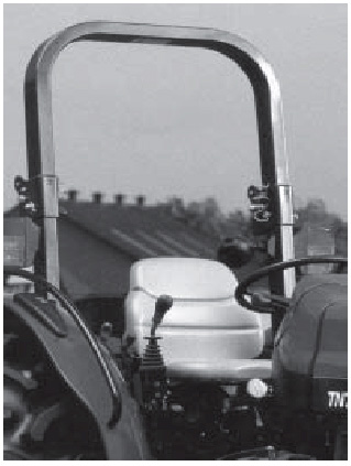 Figure 3. A foldable two-post ROPS allows tractor operation in low clearance situations without completely removing the ROPS