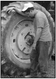 Juan leaning again wheel