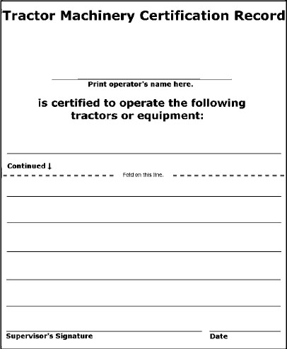 Operator Certification for the Employee.