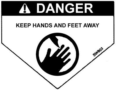 Danger Label: Keep Hands and Feet Away