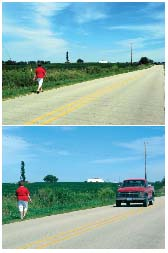 Photo of person walking down the highway