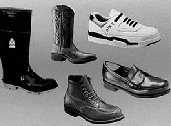 Examples of the variety of styles of safety shoes available.