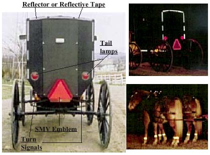 carrage with reflector or reflective tape, smv emblem, tail lamps and turn signals