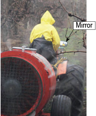 photo- appliator viewing spray in mirror