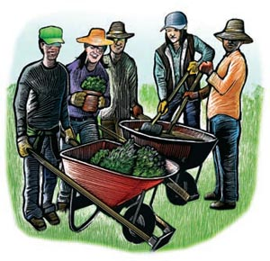 teens and wheelbarrow work