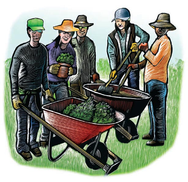 working teens with garden equipment