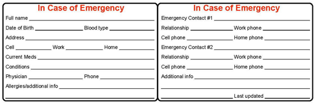In case of emergency card to be printed out and laminated