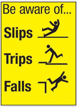 Slips Trips and Falls warning graphic