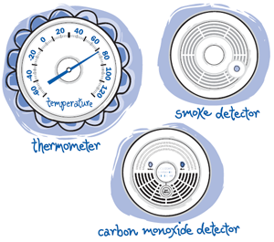 Thermometer, smoke detector, and carbon monoxide detector graphic