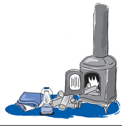 Furnace, wood, and lantern and blankets graphic