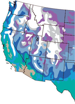 Map of the U.S. showing the West Coast and the Rockies and snow level