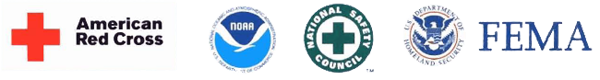 logos for FEMA, American Red Cross, NOAA, National Safety Council, and the Dept. of Homeland Security