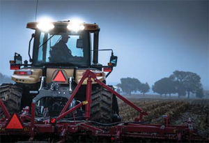 Photo- tractor with SMVs at night