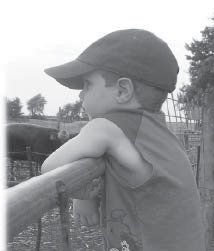 Picture of a boy resting on a fence