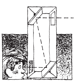 Diagram of a boy looking through the bottom window.