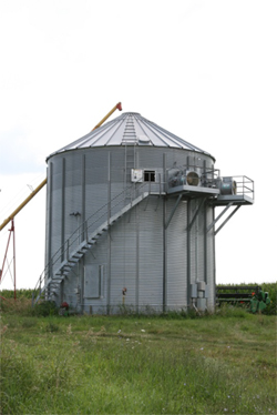 Grain storage with stairs to the top and auger