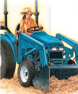 Youth operating a tractor-mounted front-end loader