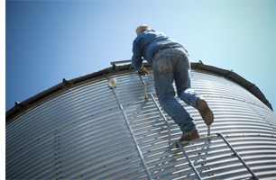 Photo of a man climbing a ladder on a grain bin