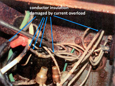 This is a picture of the damaged conductor insulation