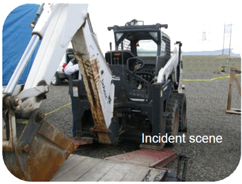 Photo of skid steer loader and loading ramp at incident scene.