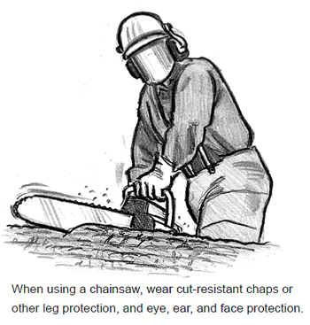 When using a chainsaw, wear cut-resistant chaps or other leg protection, and eye, ear, and face protection.