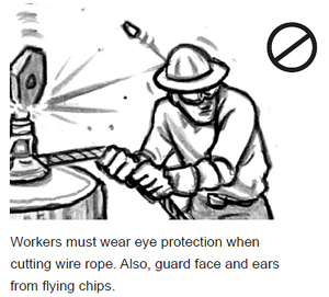 Workers must wear eye protection when cutting wire rope. Also, guard face and ears from flying chips.