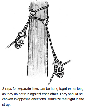 Straps for separate lines can be hung together as long as they do not rub against each other. They should be choked in opposite directions. Minimize the bight in the strap.