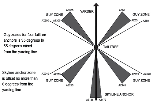 guy zones: Guy zones for four tailtree