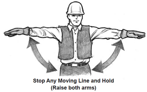 Stop any moving line and hold (Raise both arms)