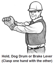 Hold, Dog Drum or Brake Lever (Clasp one hand with the other)