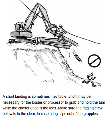 A short landing is sometimes inevitable, and it may be necessary for the loader or processor to grab and hold the turn while the chaser unbells the logs. Make sure the rigging crew below is in the clear, in case a log slips out of the grapples.