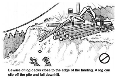 Beware of log decks close to the edge of the landing. A log can slip off the pile and fall downhill.