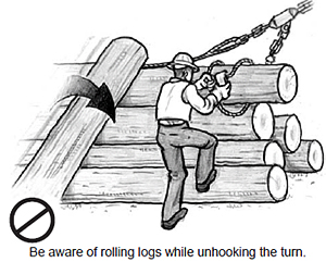Be aware of rolling logs while unhooking the turn.