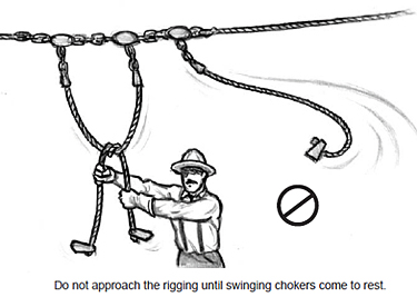 Do not approach the rigging until swinging chokers come to rest.