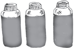 The three bottoles with the label covered.