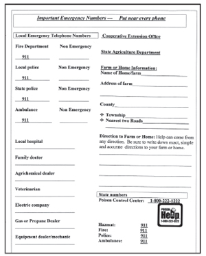 Important Emergency numbers listing sheet