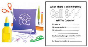 Make a paper phone and then practice answering the questions at home for 9-1-1
