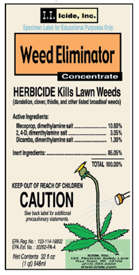 A sample chemical label for an Herbicide
