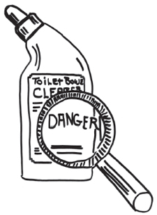 danger signal word on the toilet bowl cleaner