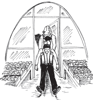 man being dragged out of a greenhouse by a worker in PPE