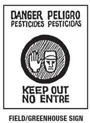 Danger Peligro pesticides field or greenhouse sign