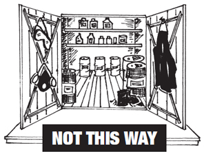 Not this way- do not store PPEs with chemicals and pesticides