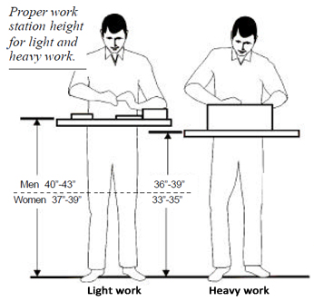 standing heights for hand work