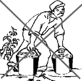drawing of a worker carrying bucket with bent back
