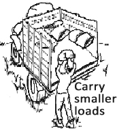 Worker carrying one bag to load the truck bed. Carry smaller loads